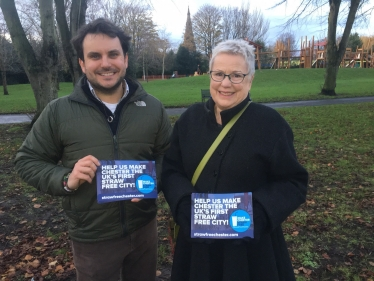 Jill and Christian campaigning for a #StrawFreeChester